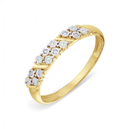Нежное женское кольцо с аметистами и фианитами