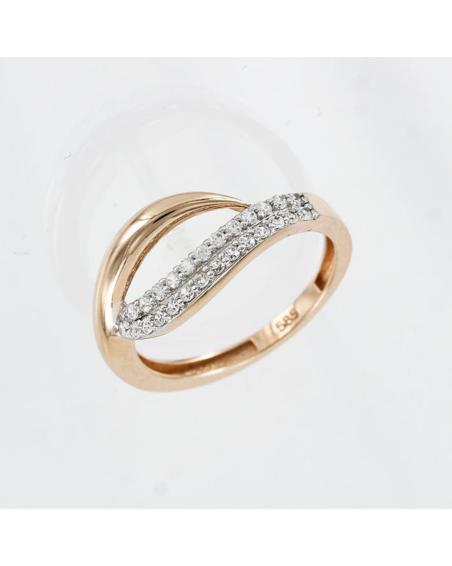 Матовое обручальное кольцо из красного золота с волнистой линией