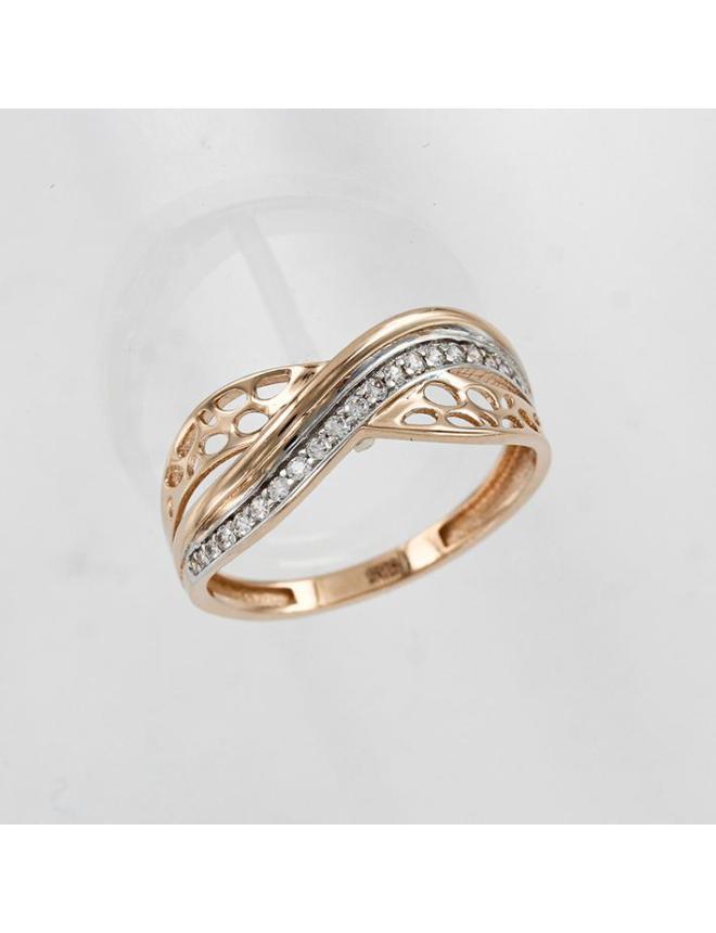 Нежное женское кольцо с бриллиантом в белом золоте
