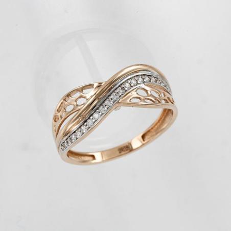 Утонченное кольцо с белого и желтого золота с бриллиантом