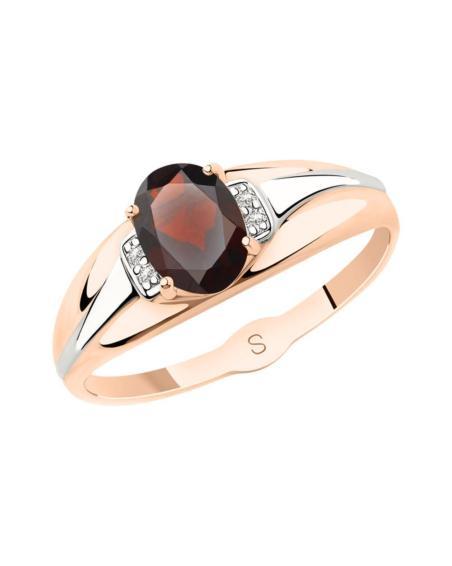 Женское кольцо с топазом и фианитом