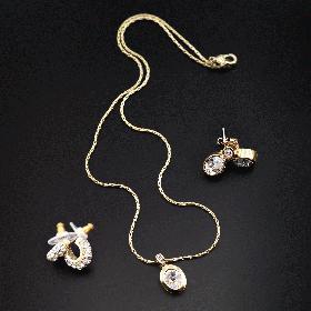 Кулон-позолота на цепочке  с кристаллами Swarovski  с родиевым покрытием,  LC