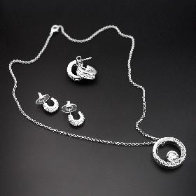 Серьги-гвоздики с кристаллами Swarovski, покрытие родий  LC