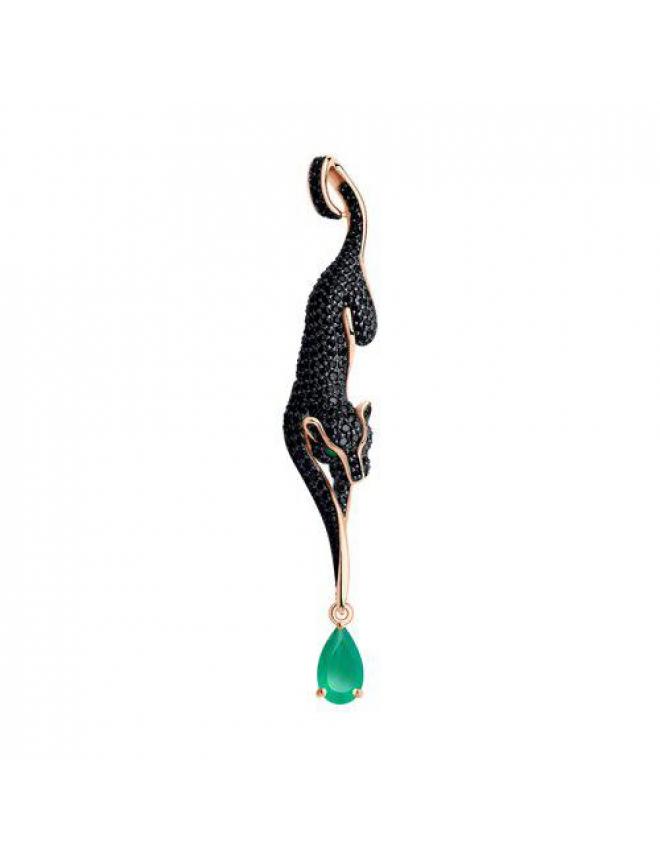 Нежная подвеска с голубым топазом и фианитом/бриллиантом