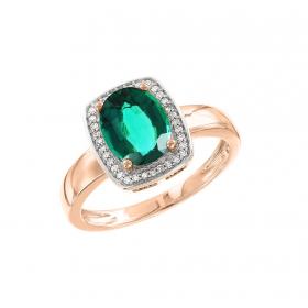 Кольцо с рубином и фианитами